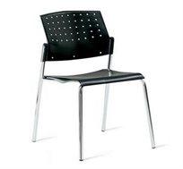 כסא קשיח לחדרי אירוח ומשרדים עם גב מחורר מעוצב ורגלי מתכת