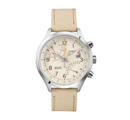 שעון יד אנלוגי לגברים עם תאורה ורצועת עור לבנה