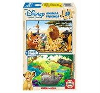 משחק הרכבה לילדים עם איורים בדמויות חברי דיסני הכולל 2 פאזלים מעץ 50 חלקים EDUCA