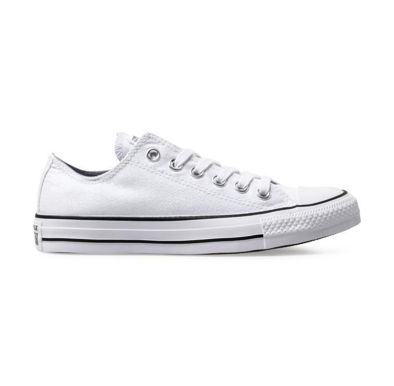 נעלי סניקרס נמוכות לנשים - לבן נצנצים