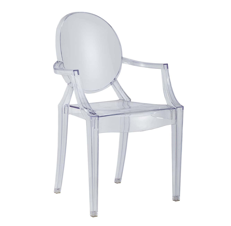 כסא שקוף בעיצוב מודרני עם משענת וידיות לבית או למשרד