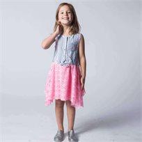 US POLO יו אס פולו (12-2 שנים) שמלת פסים - תכלת שילוב ורוד
