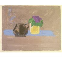 """""""אגרטל וכד"""" - ציורה של פימה אפרים, ליטוגרפיה בחתימה אישית בגודל 57X73 ס""""מ"""