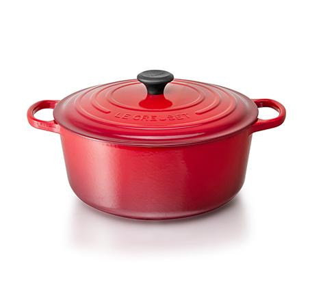 """סיר אדום 26 ס""""מ ברזל עגול יצוק לכל סוגי הכיריים ולתנור"""