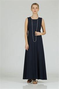 שמלה סאטן חגורה כחול