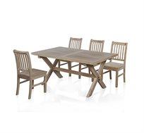 סט פינת אוכל דגם אוטיס ביתילי הכולל שולחן אוכל ו4 כסאות מפורניר עץ במראה ובעיצוב כפרי