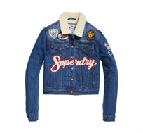 ג'קט ג'ינס SUPERDRY BORG GIRLFRIEND לנשים בצבע כחול