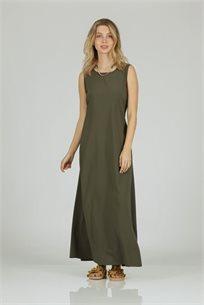 שמלה סאטן חגורה ירוק