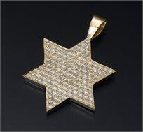 תליון מגן דוד זהב 14K משובץ יהלומים במשקל 0.80 - משלוח חינם!