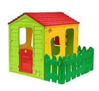 בית משחק מעוצב וצבעוני לילדים כולל חלונות, דלת כניסה וחצר Starplast