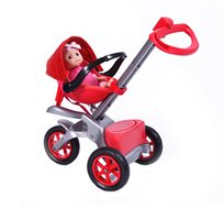 עגלה ובובת תינוק ניו יורק בצבע אדום