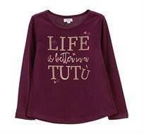 טישרט שרוולים ארוכים OVS לילדות בצבע סגול עם הדפס נוצץ ואבנים
