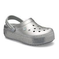 Crocs Crocband Platform Metallic Clog - נעלי קרוקבנד פלטפורמה קלוג בצבע כסף מטאלי