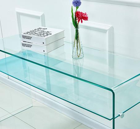 שולחן זכוכית מעוצב לכניסה לבית ולמשרדים עם מדף זכוכית תחתון - תמונה 2