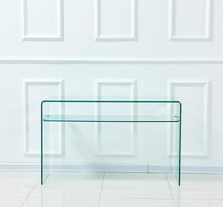 שולחן זכוכית מעוצב לכניסה לבית ולמשרדים עם מדף זכוכית תחתון - תמונה 3