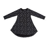 שמלה ג'רזי מתנופפת ומודפסת - שחור עם לבבות