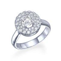 """טבעת יהלומים זהב לבן """"ג'יין"""" 1.21 קראט בעיצוב פרח"""