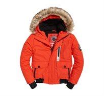 מעיל עם קפוצ'ון פרווה לגברים Everest Bomber בצבע כתום זוהר