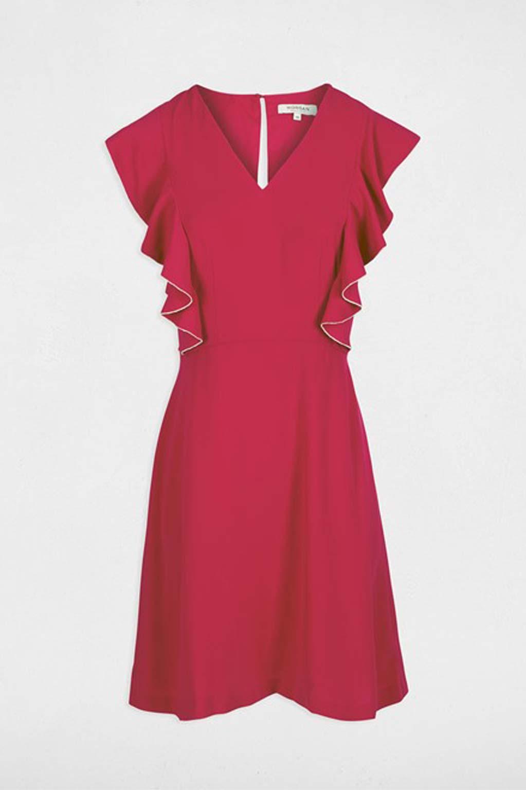 שמלת Ruffle בגזרה ישרה MORGAN - פוקסיה
