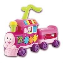 הליכון לימודי לתינוק בצורת רכבת 3 ב 1 דובר עברית - ורוד