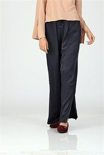 מכנס  סאטן , שליץ בקרסול -שחור