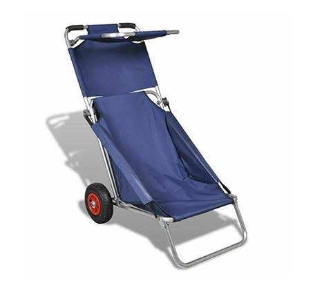 עגלת חוף מתקפלת לנשיאת חפצים משמשת ככיסא פיקניק