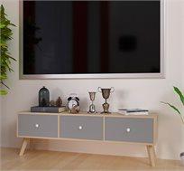 שידת טלוויזיה מעוצבת דגם קווינס בעלת שלוש מגירות