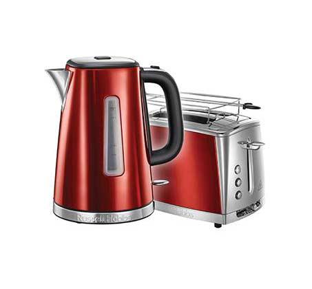 סט מצנם + קומקום אדום דגם 23220-56+23210-70 בצבע אדום