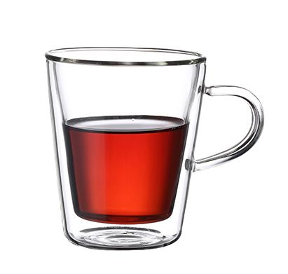 """סט 6 כוסות תרמיים זכוכית כפולה עם ידית 250 מ""""ל"""