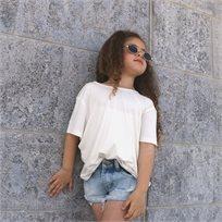 חולצת ORO לילדות (מידות 2-8 שנים) לבן גב פתוח