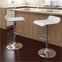 זוג כסאות בר שטוח עם מבנה מושב ייחודי ונוח לישיבה בריפוד דמוי עור
