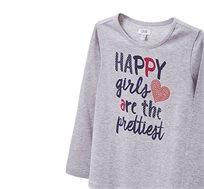 חולצה מודפסת עם שרוולים ארוכים בשילוב אבנים לילדות בצבע אפור בהיר
