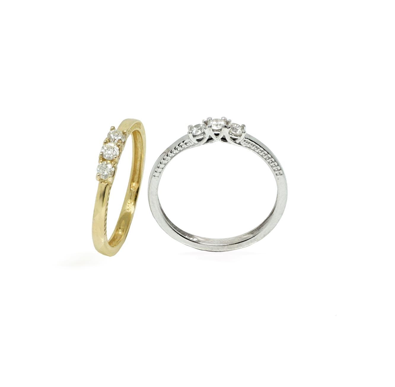 מאוד טבעת זהב 14 קראט משובצת שלושה יהלומים במגוון צבעים לבחירה - משלוח חינם DF-11
