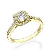 """טבעת זהב צהוב """"אלה"""" 0.71 קראט בשיבוץ יהלום בעיצוב קושיין"""