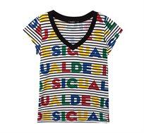 חולצת טי שרט בהדפסי לוגו צבעוניים ופסים לנשים Desigual דגם Logos and Stripes