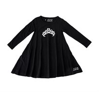 שמלת ג'רזי מסתובבת עם שרוול ארוך - שחור בשילוב הדפס כתר
