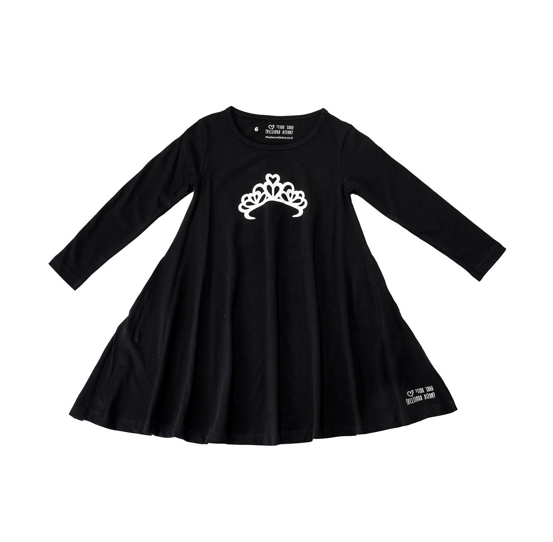 שמלת ג'רזי מסתובבת ארוכה - שחור עם כתר