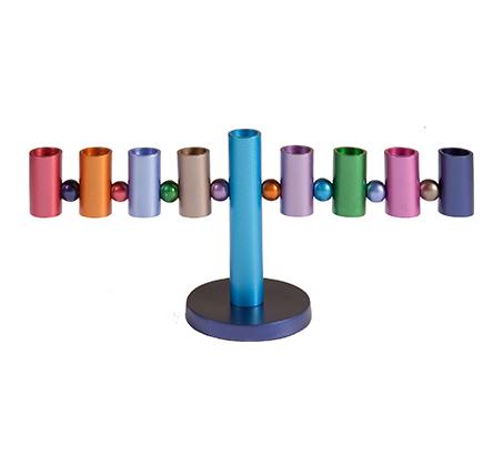 חנוכיית גלילים צבעוניים בעבודת יד EMANUEL