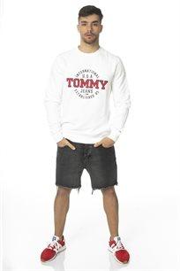 TOMMY HILFIGER גברים // סווטשרט לבן לוגו עגול