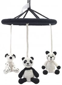 מובייל למיטת תינוק או עריסה בעבודת יד מחוט במבוק כלב/פנדה/חתול