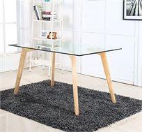 שולחן לפינת אוכל בשילוב של עץ וזכוכית מחוסמת דגם AMELY מבית BRADEX