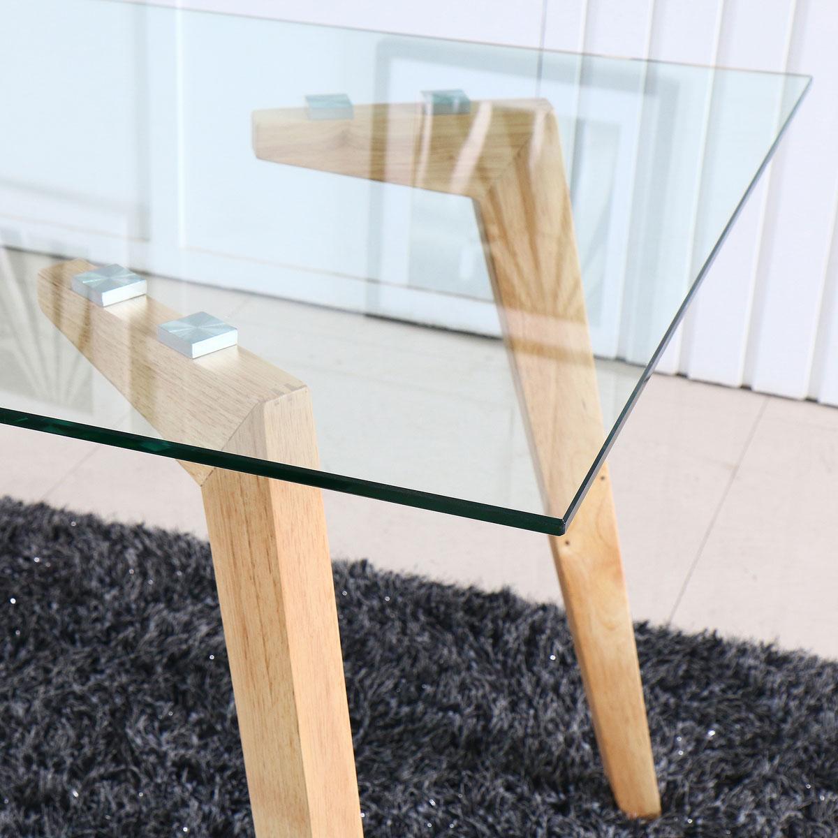 שולחן לפינת אוכל בשילוב של עץ וזכוכית מחוסמת דגם AMELY מבית BRADEX - תמונה 2