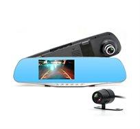 מצלמת רכב דו כיוונית FULL HD במראה פנורמית + צג LCD צבעוני - משלוח חינם