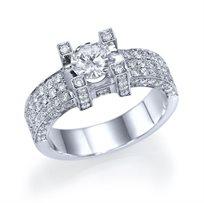 """טבעת אירוסין זהב לבן """"דיאז"""" 1.86 קראט בסגנון יוקרתי"""