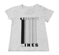 חולצת טי Straight Lines לבנים - אפור מלאנז' בהיר