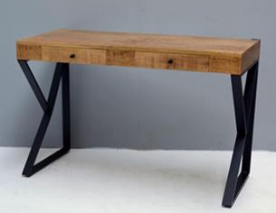 קונסולה 90 ס''מ יוקרתית מעוצבת עץ משולב ברזל