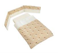 סט קומפלט למיטת תינוק דגם כוכבים בז' LAURA SWISRA