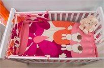 סט מצעים 3 חלקים למיטת תינוק 100% כותנה סאטן - ארנב ורוד