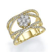 """טבעת אירוסין זהב צהוב """"קלאודיה"""" 1.72 קראט בעיצוב ייחודי ונוצץ"""