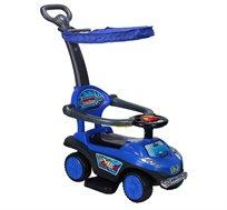 מכונית בימבה 3 ב-1 עם גגון, מעקה בטיחות ומשטח דריכה לרגל הילד
